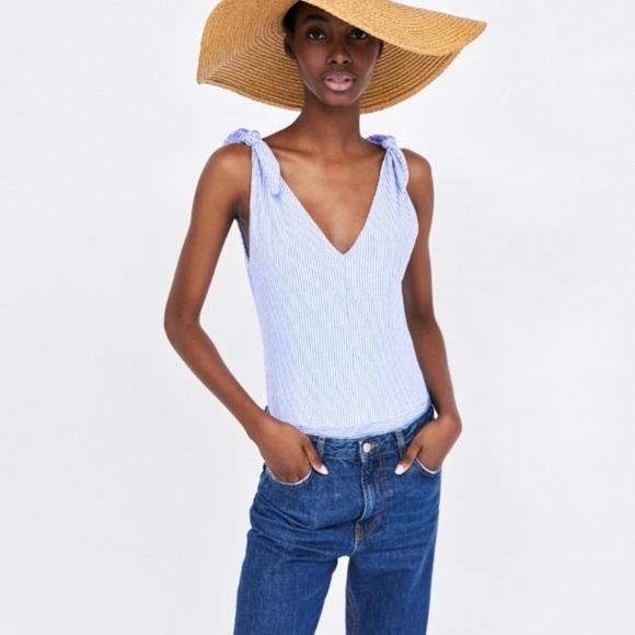 64621f97e44c Zara Blue and White Striped Bodysuit